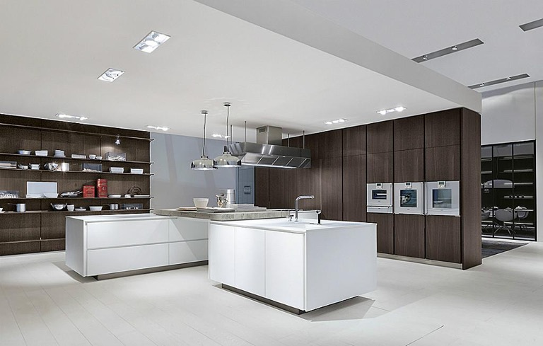 Modern Kitchen White Cabinets Hardwood Floors